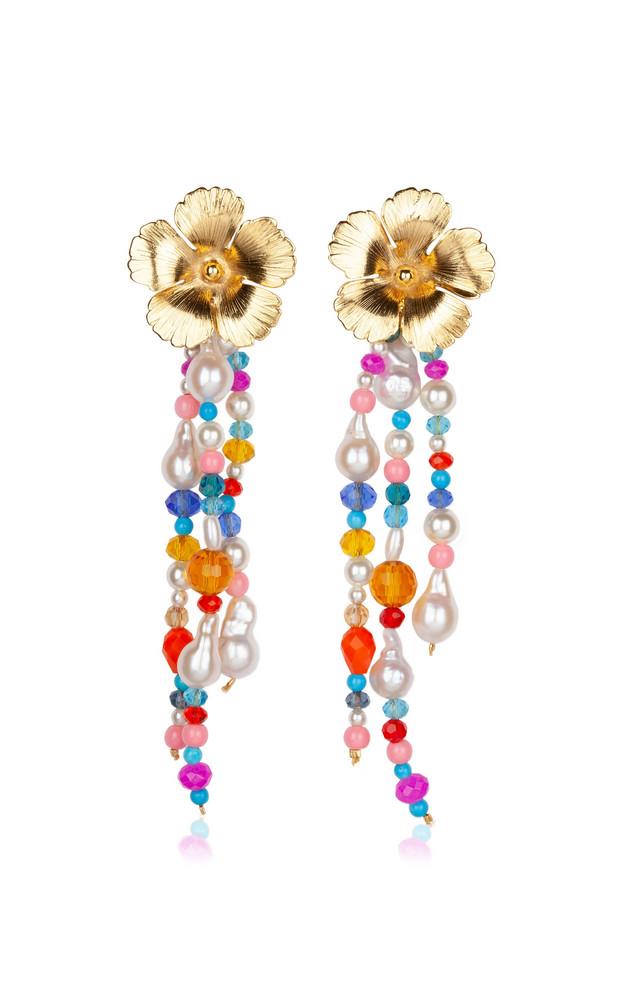 Jennifer Behr Sassafrass Pearl and Stone Drop Earrings in multi