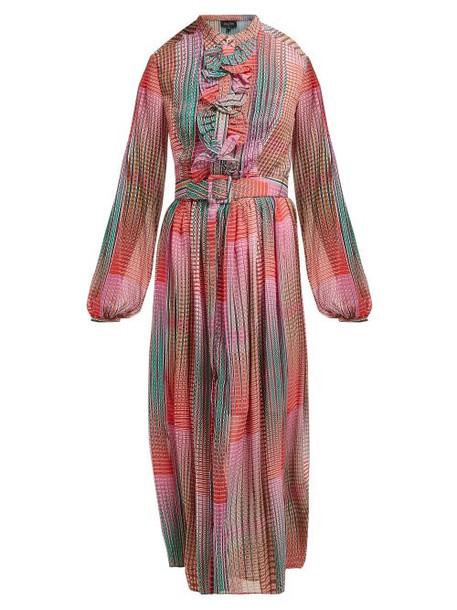 Saloni - Raquel Checked Silk Crepe De Chine Midi Dress - Womens - Pink Multi