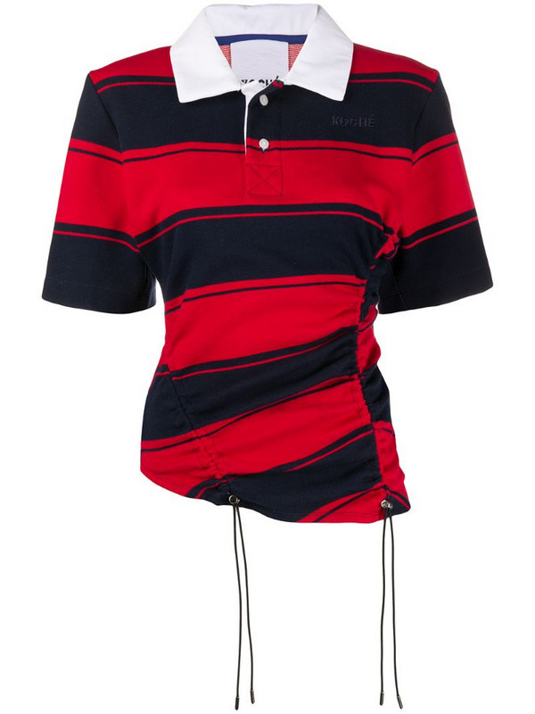 Koché striped short sleeve polo shirt in blue