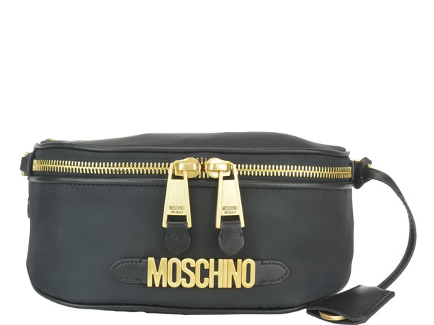 Moschino Logo Belt Bag in black / print