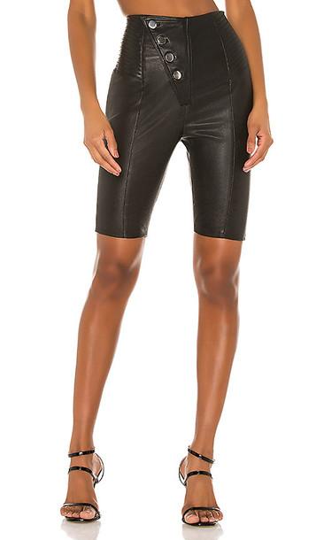 Camila Coelho Mila Leather Bike Shorts in Black