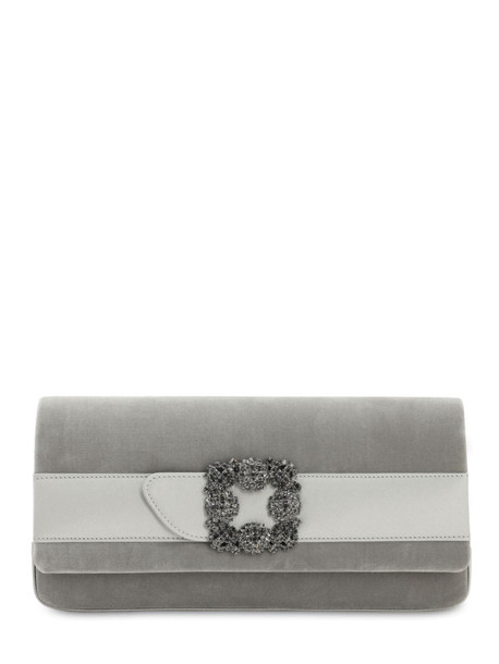 MANOLO BLAHNIK Gothisi Velvet & Satin Clutch in grey