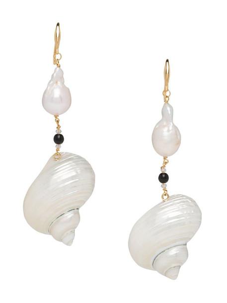 Prada shell drop earrings in white