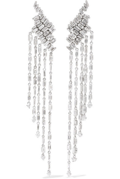 Suzanne Kalan - 18-karat White Gold Diamond Earrings