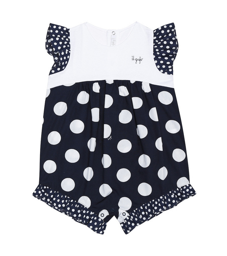Il Gufo Baby polka-dot cotton playsuit in blue