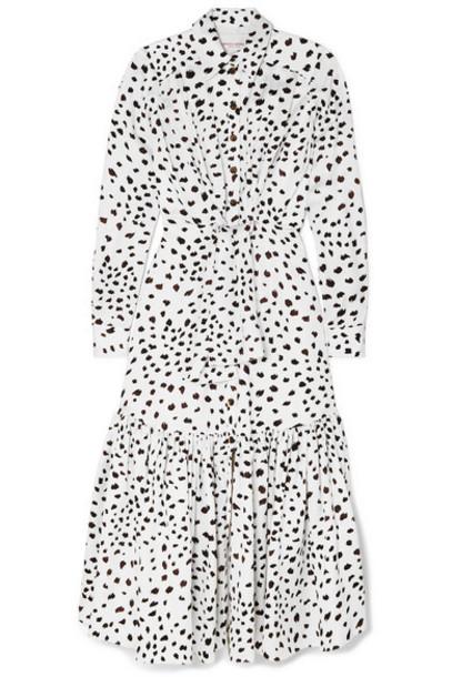 Carolina Herrera - Printed Ruffled Crepe Maxi Dress - White