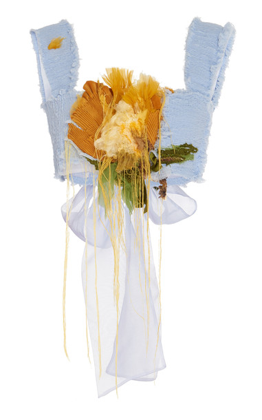 Caroline Hu Embellished Applique Organza Top Size: S in multi