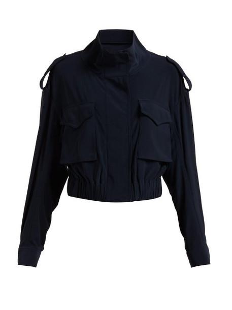 Norma Kamali - Cargo Pocket Stretch Jersey Jacket - Womens - Navy