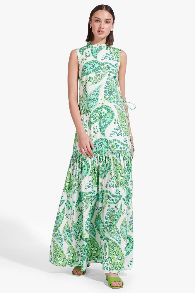 Staud ZO DRESS | LIGHT GREEN BUTTERFLY PAISLEY
