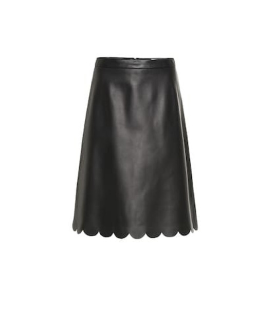 REDValentino Leather midi skirt in black