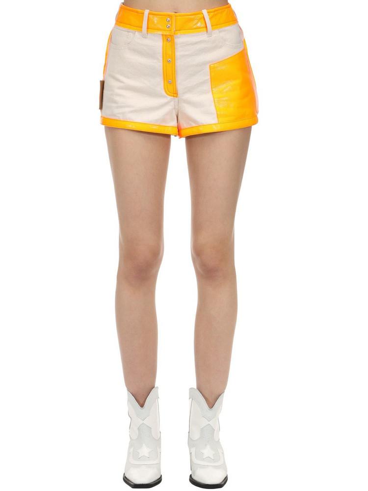 COURREGES Contrasting Cotton & Vinyl Shorts in ivory / orange