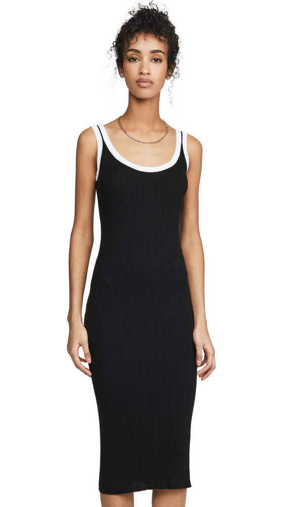 Autumn Cashmere Rib Midi Tank Dress with Porthole Back in black