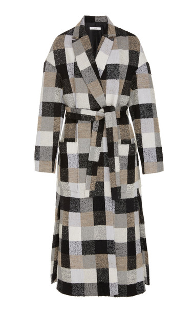 Co Checkered Wrap Coat in grey