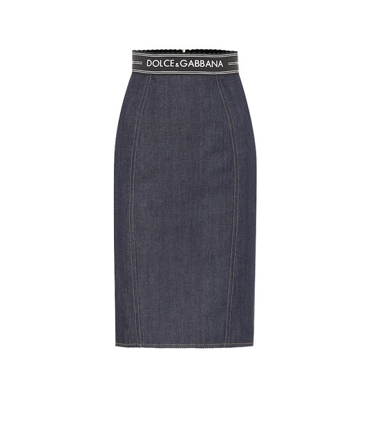 Dolce & Gabbana High-rise denim pencil skirt in blue