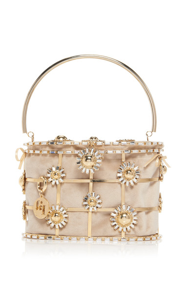 Rosantica Holli Flower Bomb Crystal-Embellished Brass Bag in neutral