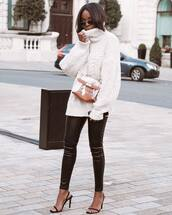 sweater,turtleneck sweater,white sweater,cable knit,black sandals,black pants,leather pants,bag