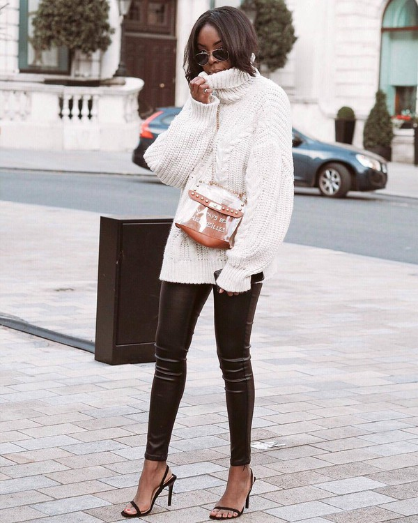 sweater turtleneck sweater white sweater cable knit black sandals black pants leather pants bag