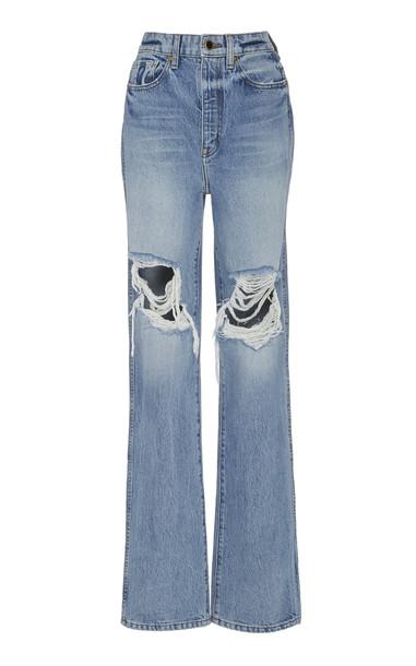 Khaite Danielle Distressed High-Rise Straight-Leg Jeans in blue
