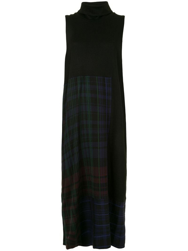 Y's checked knitted dress in black