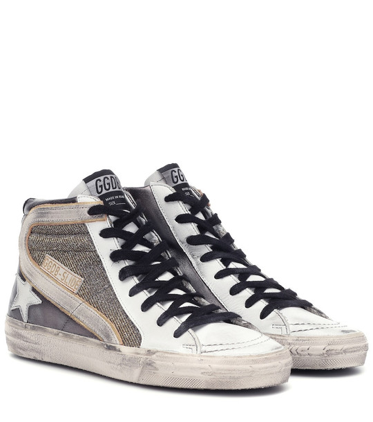 Golden Goose Slide leather sneakers in silver