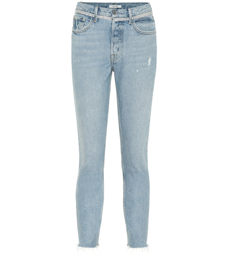 Grlfrnd Karolina embellished skinny jeans in blue
