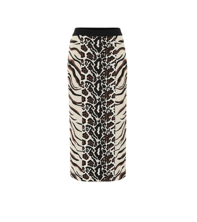 Stella McCartney Exclusive to Mytheresa – Animal-jacquard midi skirt in brown