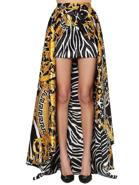 VERSACE Asymmetric Printed Duchesse Skirt in black / gold
