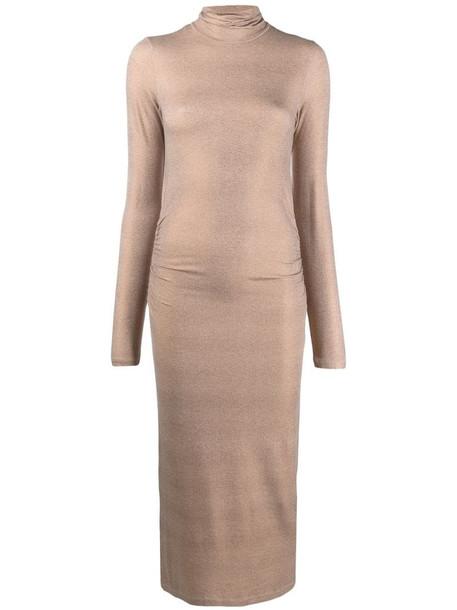 Majestic Filatures metallic effect roll neck dress in neutrals
