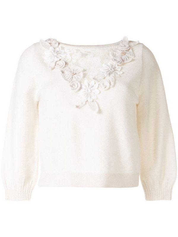 Onefifteen floral detail cashmere jumper in white
