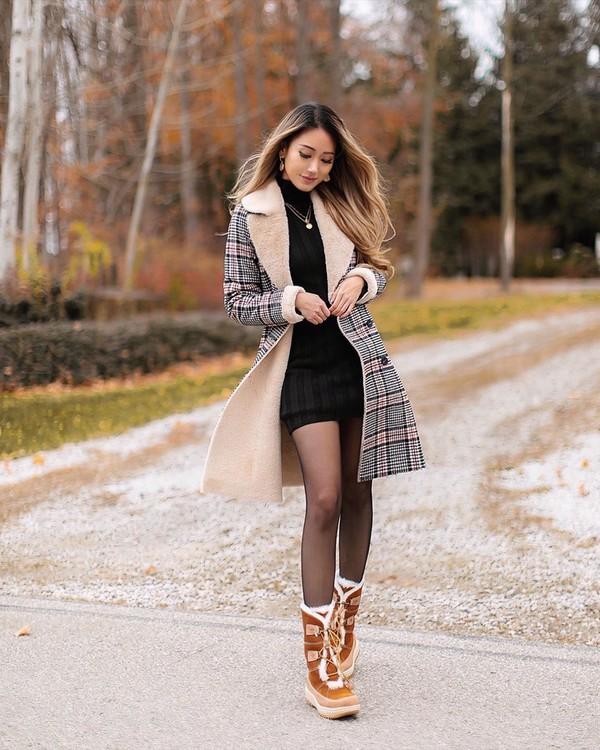 dress black dress turtleneck dress tights brown bag plaid coat