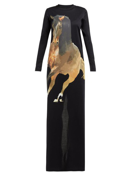 Marques'almeida - Horse Print Jersey Maxi Dress - Womens - Black Multi