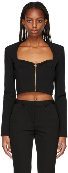 Versace Black Zip-Up Blouse