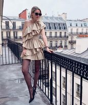 dress,ruffle dress,one shoulder,h&m,tights,pumps