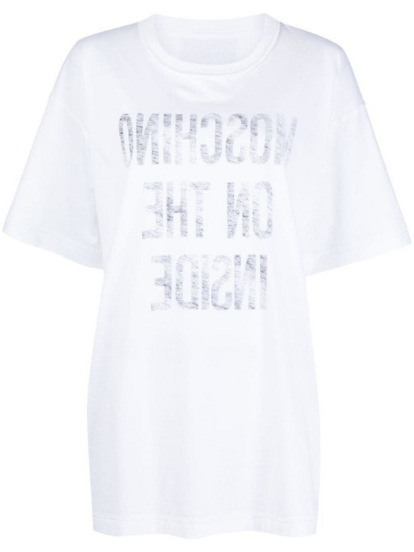Moschino slogan print T-shirt in white
