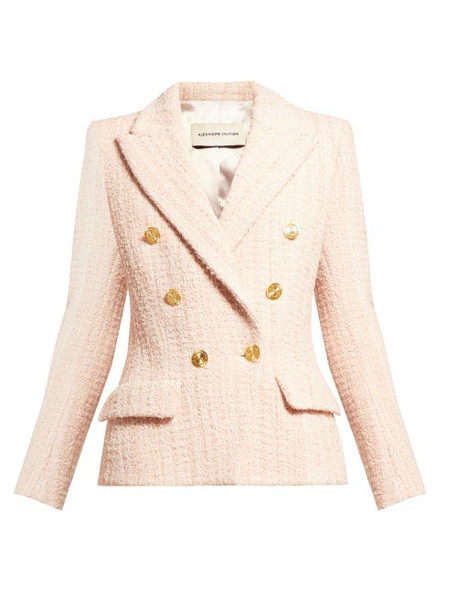 Alexandre Vauthier - Double Breasted Tweed Jacket - Womens - Light Pink