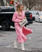 shoes,white boots,heel boots,pink coat,long coat,pink pants,pink top,white bag