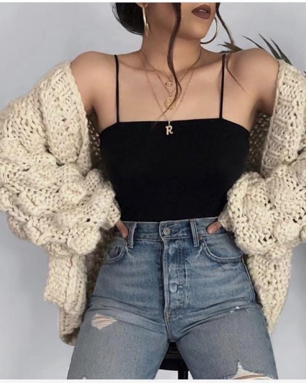 cardigan jacket cotton jumper sweater white cream t-shirt cami black top straight neck