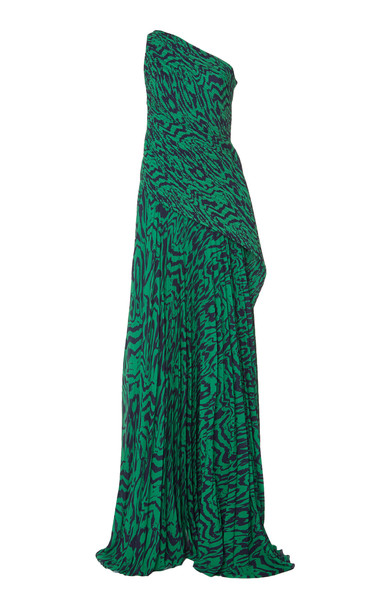 Solace London Emelyne Pleated Printed Crepe Maxi Dress Size: 2 in print