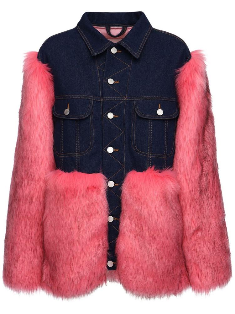 NATASHA ZINKO Faux Fur & Denim Jacket in blue / fuchsia