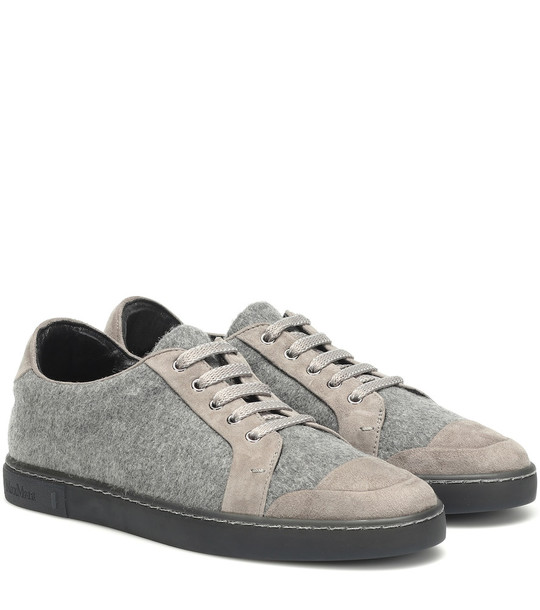 Max Mara Suede-trimmed sneakers in grey