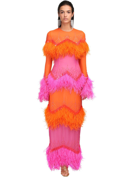 THE ATTICO Crepe Dress W/feathers & Sequins in orange / pink