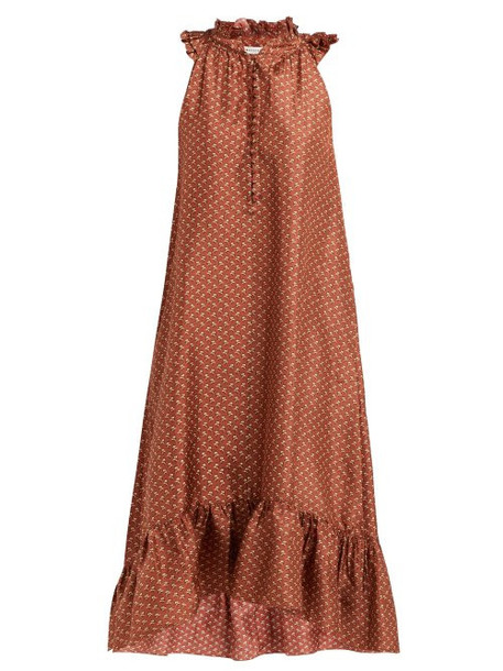 Masscob - Dunn Floral Print Ruffled Silk Dress - Womens - Orange Multi