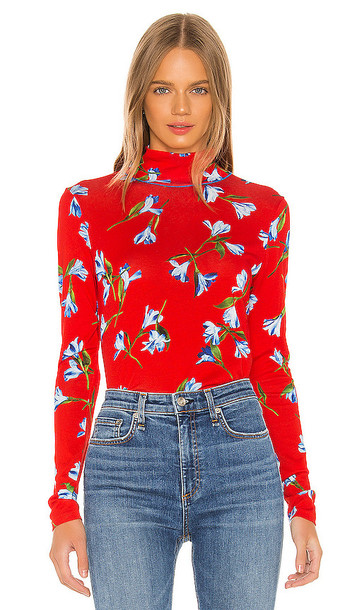 Rag & Bone Printed Shaw Turtleneck in Red