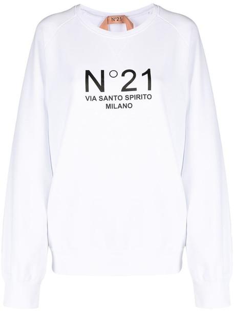Nº21 logo-print sweatshirt in white