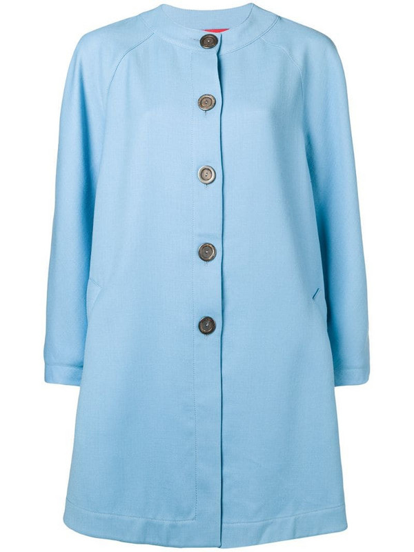 Emanuel Ungaro Pre-Owned flared collarless coat in blue