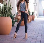 stylish petite,blogger,t-shirt,jeans,cardigan,bag,shoes,belt