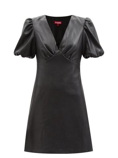 Staud - Milla Puff-sleeve Faux-leather Mini Dress - Womens - Black