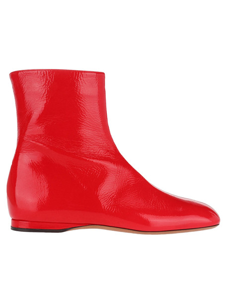 Marni Flat Leather Ankle Boots in red