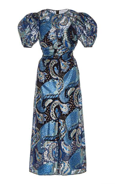Alice McCall Florette Puff Sleeve Jacquard Dress in blue