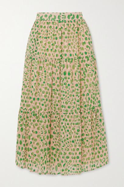 Paul & Joe - Basilic Tiered Floral-print Cotton Midi Skirt - Green